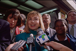 Hillary Clinton speaks to the press whilst campaigning for her husband, Bill, in New York, 10/01/1992