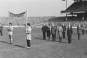 Officials stand for national anthem before at the All Ireland Senior Hurling Final, Cork v Kilkenny in Croke Park on the 3rd September 1972. Kilkenny 3-24, Cork 5-11.<br /> <br /> Keywords: