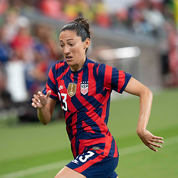 Veteran CHRISTEN PRESS (23) chases a loose ball during the second half of the US Women's National Team (USWNT) victory over Nigeria, 2-0 in the inaugural match of Austin's new Q2 Stadium. The U.S. women's team, an Olympic favorite, is wrapping up a series of summer matches to prep for the Tokyo Games. Press scored a goal in the win for USA Soccer.