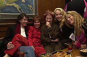 Carmen de Savtoy, Ruby Wax, Zoe Wannamaker, Jerry Hall and Suzanne Wyman. The Vagina Monologues first night at the New Ambassador Theatre and afterwards at the ivy. © Copyright Photograph by Dafydd Jones 66 Stockwell Park Rd. London SW9 0DA Tel 020 7733 0108 www.dafjones.com