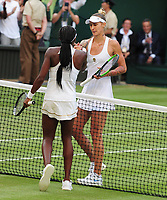 Tennis - 2019 Wimbledon Championships - Week One, Friday (Day five)<br /> <br /> Womens singles, 3th Round Polona Hercog (SLO) v Cori Gauff (USA)<br /> <br /> Cori Gauff at the net after the match on Centre Court <br /> <br /> COLORSPORT/ANDREW COWIE