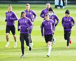 Manchester City players pictured during the training session at The Etihad Campus ahead of the UEFA Champions League clash with FC Barcelona - Photo mandatory by-line: Matt McNulty/JMP - Mobile: 07966 386802 - 23/02/2015 - SPORT - Football - Manchester - Etihad Stadium
