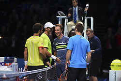 November 14, 2017 - London, United Kingdom - Henri Kontinen of Finland and John Peers of Australia win their Doubles match against Jean-Julien Rojer of The Netherlands and Horia Tecau of Romania on day three of the Nitto ATP World Tour Finals at O2 Arena, London on November 14, 2017. (Credit Image: © Alberto Pezzali/NurPhoto via ZUMA Press)