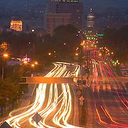 Idaho, Ada County, Boise, skyline, capitol boulevard, evening