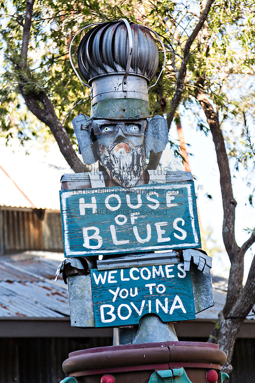 Folk art style sign for the House of Blues at Main Street Disney World in Lake Buena Vista, Florida.