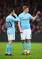 31 December 2017 -  Premier League - Crystal Palace v Manchester City - Kevin De Bruyne makes a point to Bernardo Silva - Photo: Marc Atkins/Offside