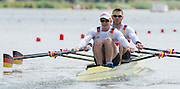 Poznan, POLAND. Men's Double Sculls Heats, GER M2X, Bow: Marcel HACKER and Stephan KRUEGER at the stat of their heat at the  2015 FISA European Rowing Championships. Venue, Lake Malta. Friday 29.05.2015. [Mandatory Credit: Peter Spurrier/Intersport Images] .   Empacher.