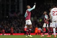 Angelo Ogbonna Obinze of West Ham United celebrates after scoring his sides 2nd goal during 2nd Extra time to make it 2-1. The Emirates FA cup, 4th round replay match, West Ham Utd v Liverpool at the Boleyn Ground, Upton Park  in London on Tuesday 9th February 2016.<br /> pic by John Patrick Fletcher, Andrew Orchard sports photography.