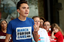 Parkland survivor David Hogg speaks during a news conference at the Broward County Government Center in Fort Lauderdale, FL, USA, on February 11, 2019, following the submission of 200 petitions to the Broward County Supervisor of Elections office as part of a ballot initiative to put on the 2020 election ballot a ban on the sale of military-grade weapons. Photo by Amy Beth Bennett/Sun Sentinel/TNS/ABACAPRESS.COM