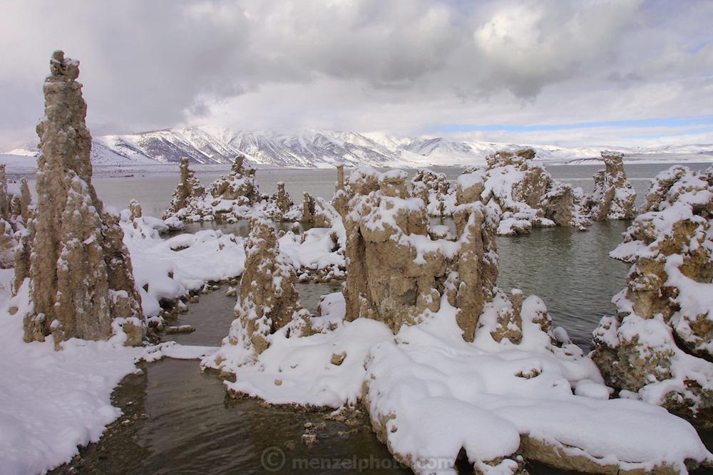 Mono Lake, California. Tufa formations with December snow. Christmas road trip from Napa, California to Sedona, Arizona and back.
