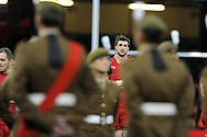 a dejected looking Wales player Luke Charteris looks on at end of game. Autumn International rugby, 2013 Dove men series, Wales v South Africa at the Millennium Stadium in Cardiff,  South Wales on Saturday 9th November 2013. pic by Andrew Orchard, Andrew Orchard sports photography,