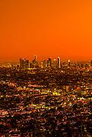 Downtown Los Angeles skyline at twilight, California USA.