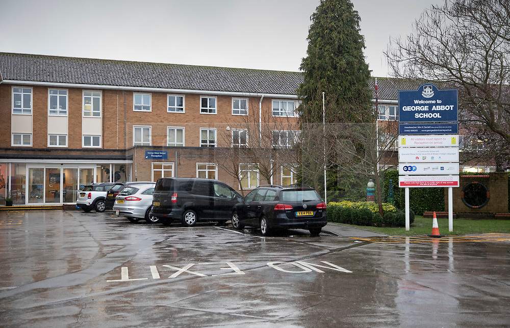 © Licensed to London News Pictures. 06/03/2019. Guildford, UK. George Abbot Secondary School in Guilford, where a 15 year old pupil is reported to have stabbed another pupil in the back with a pair of scissors. Photo credit: Peter Macdiarmid/LNP
