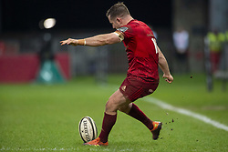 March 23, 2019 - Limerick, Ireland - JJ Hanrahan of Munster kicks a conversion during the Guinness PRO14 match between Munster Rugby and Zebre at Thomond Park Stadium in Limerick, Ireland on March 23, 2019  (Credit Image: © Andrew Surma/NurPhoto via ZUMA Press)