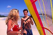 Couple, Winsurfing, Oahu, Hawaii<br />
