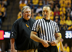 Jan 20, 2018; Morgantown, WV, USA; West Virginia Mountaineers head coach Bob Huggins argues a call during the second half against the Texas Longhorns at WVU Coliseum. Mandatory Credit: Ben Queen-USA TODAY Sports
