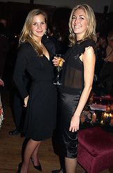 Left to right, MISS CLEMENTINE BROWN and MISS SOPHIE LLOYD at a party to celebrate the 4th anniversary of Quintessentially held at 11 Grosvenor Place, London  SW1 on 14th December 2004.<br /><br />NON EXCLUSIVE - WORLD RIGHTS