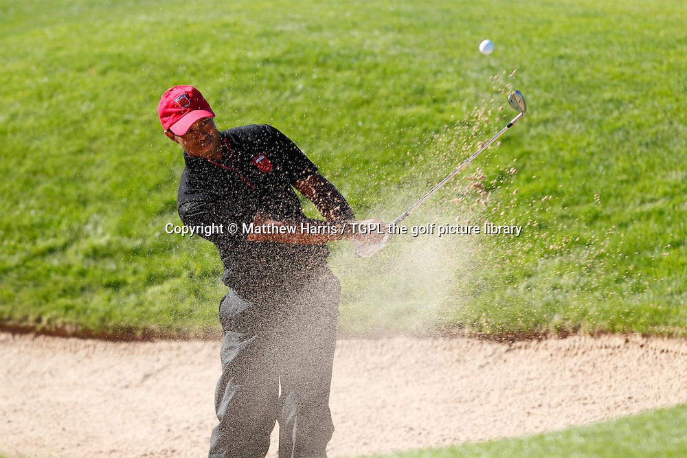 Tiger WOODS (USA) plays from bunker  Session Four_Singles during Ryder Cup 2010,Celtic Manor,Newport,Wales.