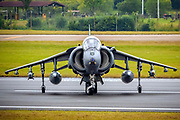 RAF Harrier, informally referred to as the Harrier Jump Jet, is a family of jet-powered attack aircraft capable of vertical/short takeoff and landing operations.  Photographed at Royal International Air Tattoo (RIAT)