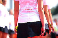 Grid girls on the drivers parade.<br /> Italian Grand Prix, Sunday 7th September 2014. Monza Italy.