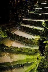 A staircase in Dirleton Castle, a ruined medieval fortress in the village of Dirleton, East Lothian, Scotland.<br /> <br /> (c) Andrew Wilson   Edinburgh Elite media