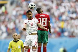 (l-r) Omid Ebrahimi of IR Iran, Amine Harit of Morocco
