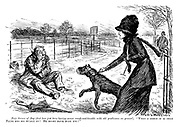 """Fair Owner of Dog (that has just been having severe rough-and-tumble with old gentleman on ground). """"What a mercy it is that Pluto has his muzzle on! He might have hurt you!"""""""