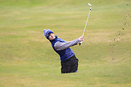 Ryan McNelis (Fintona) the 17th during Round 3 of the Ulster Boys Championship at Donegal Golf Club, Murvagh, Donegal, Co Donegal on Friday 26th April 2019.<br /> Picture:  Thos Caffrey / www.golffile.ie