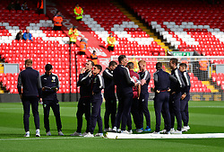 Burnley's players inspect the pitch before the game