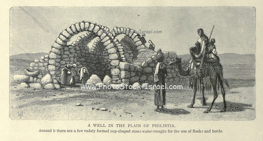 A WELL IN THE PLAIN OF PHILISTIA. Around it there are a few rudely formed cup-shaped stone water-troughs for the use of flocks and herds. Wood engraving of from 'Picturesque Palestine, Sinai and Egypt' by Wilson, Charles William, Sir, 1836-1905; Lane-Poole, Stanley, 1854-1931 Volume 3. Published in by J. S. Virtue and Co 1883