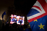 Remain protesters (pro-EU) listen to Prime Minister Theresa May in Westminster after the result of MPs' Meaningfull Brexit vote which eventually brought about a massive defeat for her Brussels deal, on 15th January 2019, in Westminster, London, England.