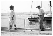 ELIZABETH TAYLOR, MALCOLM FORBES, Party in the harbour on Rupert Murdoch's yacht.  Forbes weekend, TANGIER 1989
