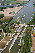Nederland, Limburg, Gemeente  Sittard-Geleen, 27-05-2013; Julianakaal met sluizencomplex Born. De sluizen worden gerenoveerd. Gezien naar het Noorden.<br /> Shipping locks Julianacanal (Meuse canal).<br /> luchtfoto (toeslag op standard tarieven);<br /> aerial photo (additional fee required);<br /> copyright foto/photo Siebe Swart.