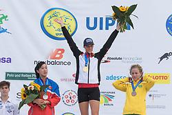 04.07.2015, Berlin, GER, Moderner Fünfkampf WM, im Bild Lena Schoeneborn, SSF Bonn, Weltmeisterin 2015 im Modernen Fuenfkampf, 2. Platz CHEN Qian aus China, 3. Platz MARQUES Yane aus Brasilien // during Womens race of the the world championship of Modern Pentathlon at the Berlin, Germany on 2015/07/04. EXPA Pictures © 2015, PhotoCredit: EXPA/ Eibner-Pressefoto/ Kleindll<br /> <br /> *****ATTENTION - OUT of GER*****
