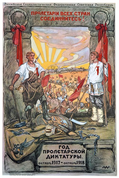 The Year of Proletarian Dictatoship, October 1917-1918. Soviet propaganda poster by Alexandre Apsit. Russia USSR  Communism Communist