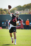 San Francisco 49ers quarterback Brian Hoyer (2) throws passes during the San Francisco 49ers training camp held at their practice facility in Santa Clara, California, on August 17, 2017. (Stan Olszewski/Special to S.F. Examiner)