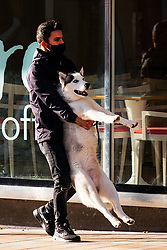 As the third national UK lockdown comes into effect a man carries his Husky dog up the moor in Sheffield<br /> <br /> 05 January 2020<br /> <br /> www.pauldaviddrabble.co.uk<br /> All Images Copyright Paul David Drabble - <br /> All rights Reserved - <br /> Moral Rights Asserted -