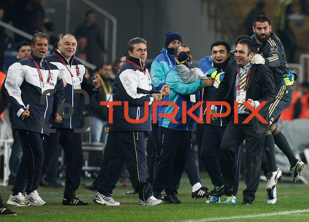 Fenerbahce's coach Aykut Kocaman (C) during their Turkish superleague soccer match Fenerbahce between Gaziantepspor at the Sukru Saracaoglu stadium in Istanbul Turkey on Monday09 January 2011. Photo by TURKPIX