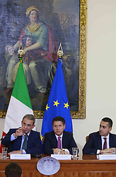 Italy, Caserta -  November 19, 2018.A protocol of understanding on the 'Land of Fires' toxic-waste fire area near Naples (Campania region) signed in Caserta..Premier Giuseppe Conte and deputy Premier Luigi Di Maio attend a press conference. The Interior Minister Matteo Salvini, did not attend   the conference for a dinner at the Quirinale palace.From left Sergio Costa, Giuseppe Conte and Luigi Di Maio. (Credit Image: © Ciro De Luca/Ropi via ZUMA Press)