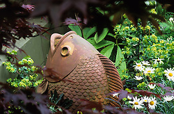 Terracotta fish seen through Acer palmatum 'Bloodgood'