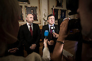 Nobel Peace Prize winner Jose Manuel Barrosa meets the press at the Norwegian Parliament along with president of the storting Dag Terje Andersen.