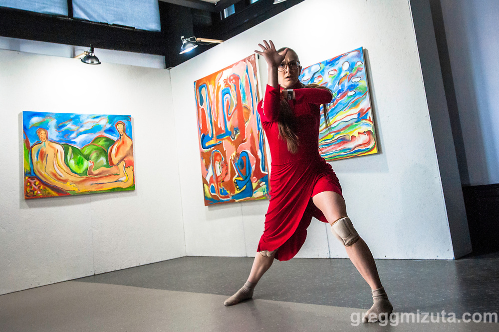 """Adrienne Kerr. Ballet Idaho Pop Up the Treefort Galley in The Owyhee, Boise, Idaho on March 21, 2019. <br /> <br /> The pop up was an excerpt from """"The Monster and the Gift"""", by Daniel Ojeda, which explores the intermingling of an artist's personal life and her art. Artwork by Huma Aatifi."""