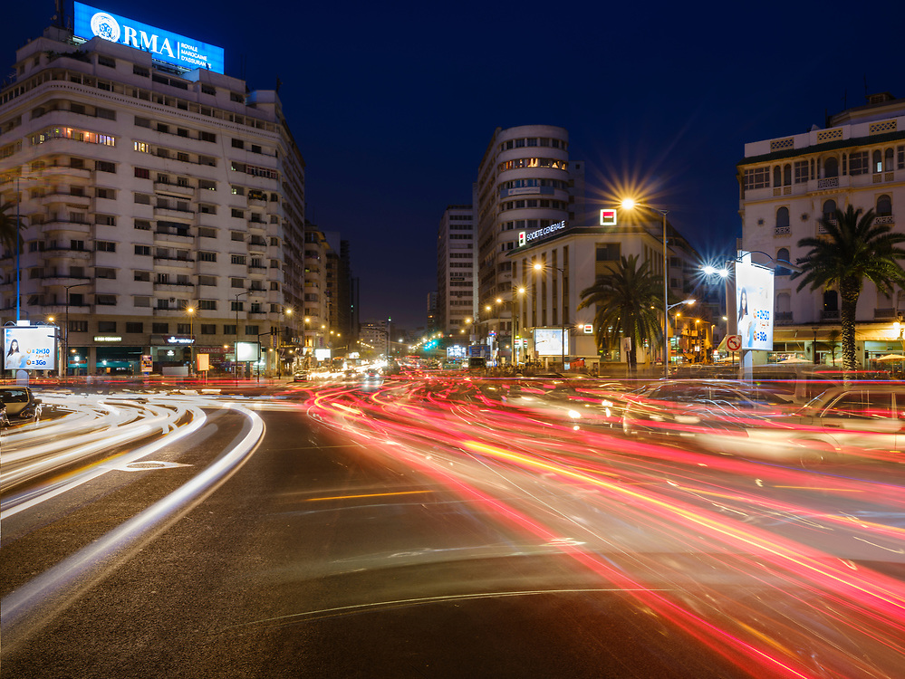 CASABLANCA, MOROCCO - CIRCA APRIL 2017: Avenue Des Far and Boulevard Hassan I in Casablanca at night.
