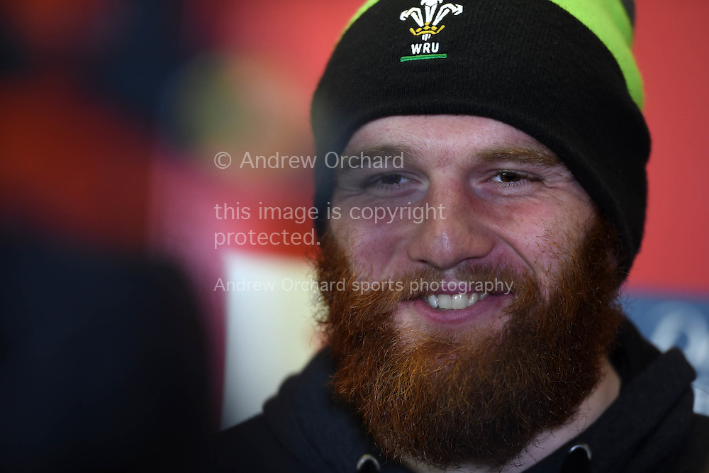 Jake Ball of Wales speaks to the press .Wales rugby team training and press conference at the Vale Resort, Hensol , near Cardiff, South Wales on Tuesday 18th November 2014. Wales are looking ahead to their next match against the Allblacks on Saturday.<br /> pic by Andrew Orchard, Andrew Orchard sports photography.