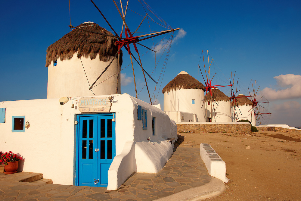 The traditional Greek windmills of Mykonos Chora. Cyclades Islands, Greece .<br /> <br /> Visit our GREEK HISTORIC PLACES PHOTO COLLECTIONS for more photos to download or buy as wall art prints https://funkystock.photoshelter.com/gallery-collection/Pictures-Images-of-Greece-Photos-of-Greek-Historic-Landmark-Sites/C0000w6e8OkknEb8