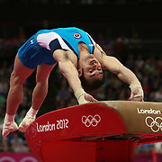 Enrique Tomas Gonzalez Sepulveda, Chile, in action in the Gymnastics Artistic, Men's Apparatus, Vault Final at the London 2012 Olympic games. London, UK. 6th August 2012. Photo Tim Clayton