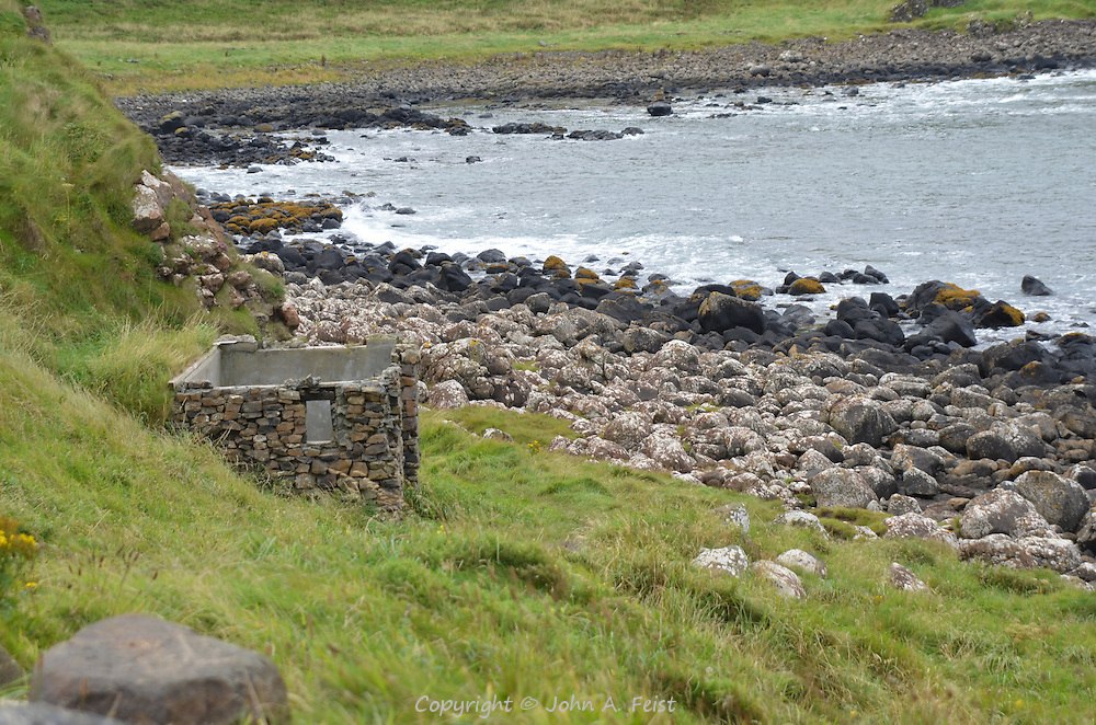What's left of a small house at the Giant's Causeway, County Antrim, Northern Ireland