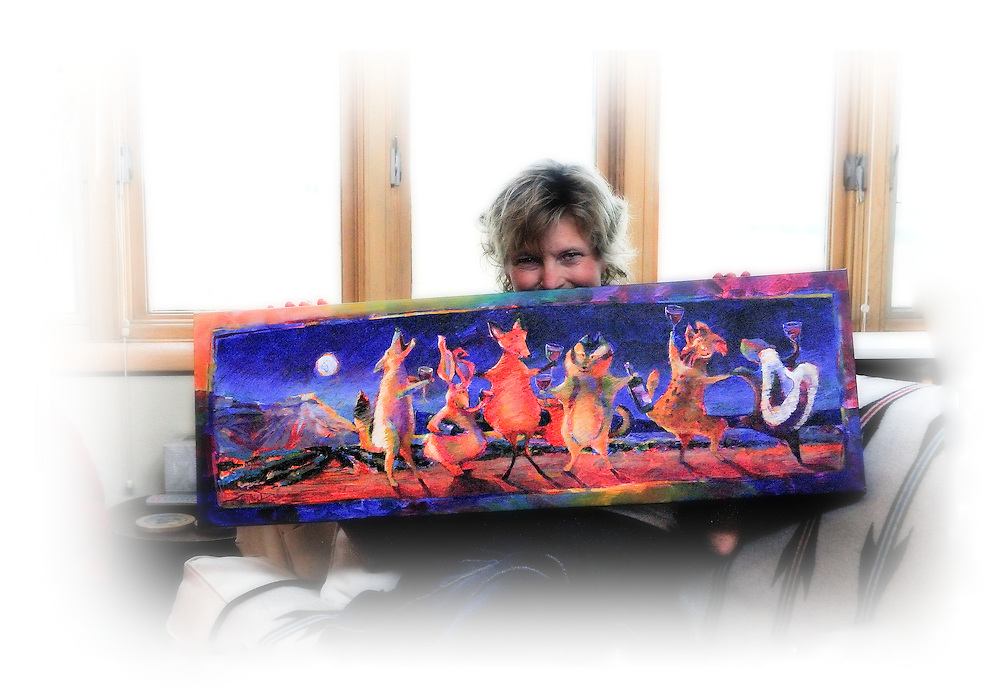 """Cynthia Duff and her winning painting for the 2010 Colorado Mountain Winefest in Palisade, Colorado - """"Party Animals"""""""
