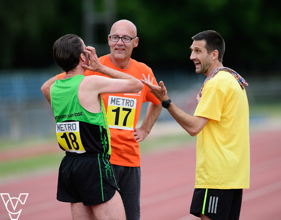 Event: 1500 meters<br /> Competitors, from left: Noel Thatcher and David Beynon<br /> <br /> Metro Blind Sport's 42nd Athletics Open, held at Mile End Stadium, Tower Hamlets, London.<br /> <br /> Picture: Chris Vaughan Photography for Metro Blind Sports<br /> Date: June 16, 2018