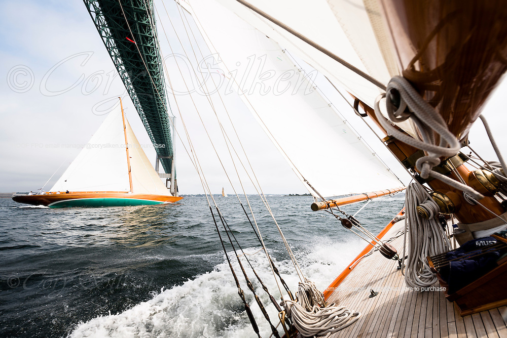 Sailing onboard Marilee, Herreshoff New York 40 Class, in the Museum of Yachting Classic Yacht Regatta, day two.